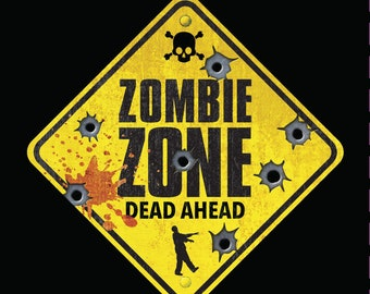Zombie T-shirt - ZOMBIE ZONE Dead Ahead - Cool Traffic Warning Sign - Funny Shirt for Undead-esque Gifts - Perfect 4 the Zombie Apocalypse!