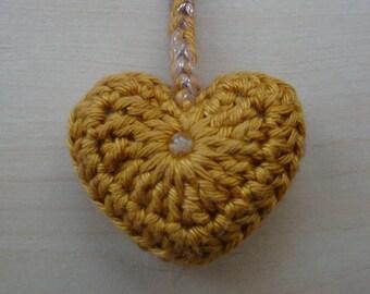 Keyring Gold Heart CITRINE