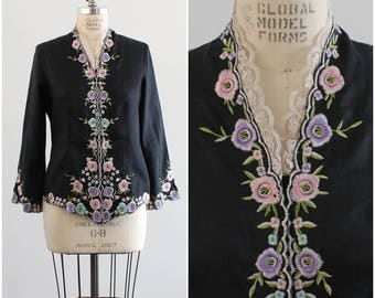 Black Linen/ Pastel Flowers/ Floral Embroidery/ Embroidered Jacket/ Vintage Coat/ Bell Sleeves/ Medium/ Large