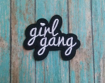 Girl Gang Iron On Patch/Embroidered Patch/Applique/Clothing Patch/Black and White/Jacket Patch/Shirt Patch/Jean Patch/Hat Patch