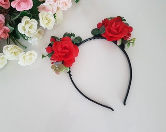 Floral Cat Ear Headbands,Kitty Ear Headband,Bride Headband,Cat ears,Girl kitty cat ears,Photo Prop,Kitty Ears,Cat Headband,Cat Headband