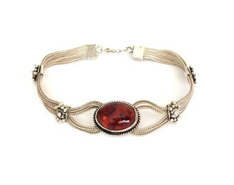 Vintage Ethnic Sterling Silver Rajasthani Amber Bracelet