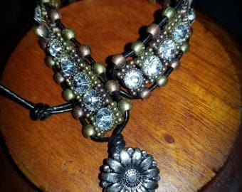 Leather bracelet/ Bling bracelet/ Crystal bracelet