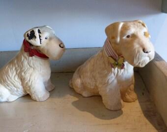 Ceramic Fox Terrier dogs