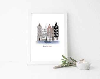 Amsterdam Travel Art Print - Row Houses