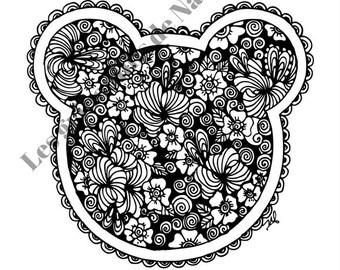 Mandala inspiration Mickey à colorier et à imprimer vous-même - mandala - zentangle - anti-stress - fait main - coloriage - détente