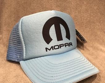 Mopar Trucker Hat Vintage Dodge Light Blue Challenger Mesh Snapback Cap! 2173