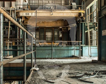 Power plant IM industrial crane-Vintage Industrial decor-Abandoned-Urban Exploration-Urbex-Photography-Photography
