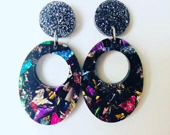 Kaleidoscope Acrylic Earrings, Avocado Oval.