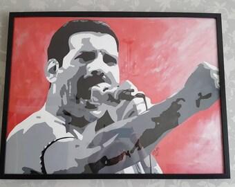 Freddie Mercury large framed painting