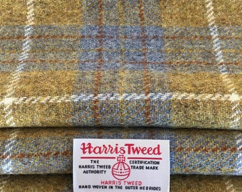 Blue and Mustard Harris Tweed, Tartan Tweed, Wool Fabric, With Authenticity Labels