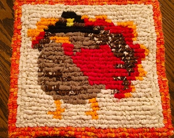 Thanksgiving Turkey Locker Hooking Table Mat / Trivet / Hot Pad / Wall Hanging