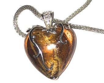 DESERT SANDS - Only one available of this stunning upsized heart and exotic snake chain