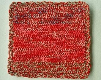 Crochet Pot Holder, Crochet Potholder, Hot Pad, Oven Mitt, Pot Stand, Coaster, Kitchen Cookware, Home Decor, Baking, Red, Pink, Cotton, Gift
