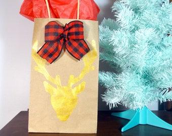 Handmade Stag Head Gift Bag, Embellished Christmas Gift Bag, Stag Gift Wrapping, Holiday Gift Bag, Red and Gold Christmas, Buffalo Plaid