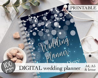 Printable wedding planner, Wedding binder, Wedding planning book, Wedding planner printable, Engagement gift, PDF download, Bridal gift idea