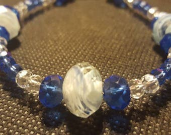Blue and Clear Glass Beaded Bracelet
