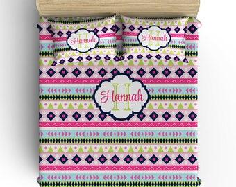 Girl Tribal BEDDING Comforter- DUVET COVER- Pillowcase- Tribal Decor, Toddler- Twin- Queen- King- Monogram Bedding, Choose Your Colors Set