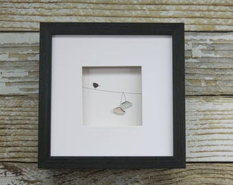 Sea Glass Art,Pebble Art,Pebble Art Birds,Rock Art,Framed Art,Sneakers on a Wire,Unique Gift,Whimsical,OOAK,Art by M.McGuinness!