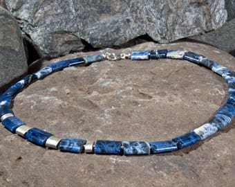 Gemstone necklace made of sodalite with 925 silver