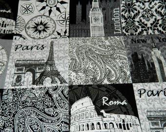 Rome, Paris, London, New York 1 yard fabric- New-Travel Fabric-City destinations fabric-London-Rome-Paris-New York fabric-fabric by the yard