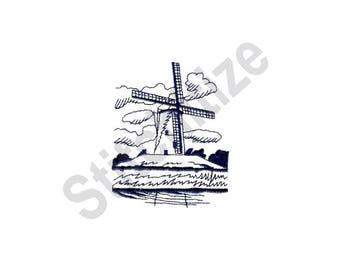 Dutch Windmill - Machine Embroidery Design, Windmill