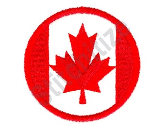 Canadian Circle - Machine Embroidery Design, Canadian Flag, Maple Leaf, Canadian