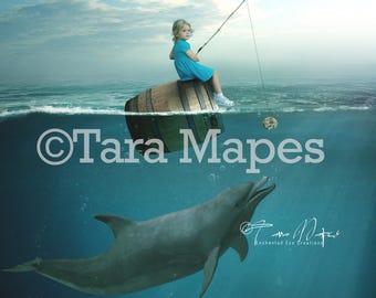 Dolphin Chasing Barrel in Ocean Digital Background