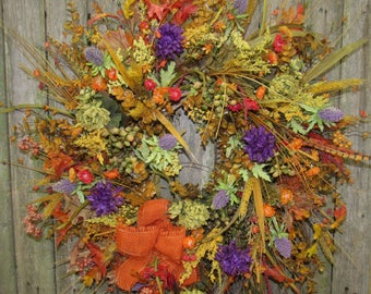 Ready to Ship Fall Silk Floral Wreath with Purple Mums and Thistles, Olive Mums, Gold Eucalyptus, and Rust burlap bow