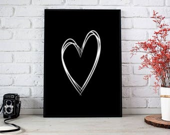 Heart Wall art, Black Digital Wall Art, Black White Print, Download Print, Instant download, Printable Art, Stripes Wall Decor, Heart Poster