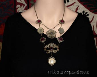 Vintage Filigree Afghan Tribal Necklace with Cherry Red Glass Jewels and Coins, Gift for Her, Tribal Fusion
