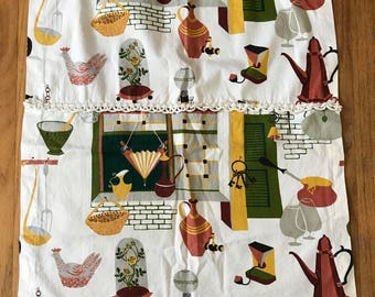 Pair Of Vintage Kitchen Curtains 1950s Cozy Home Fabric Decor