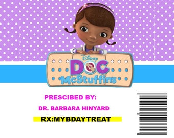 Doc Mcstuffin candy pill label