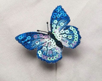 blue butterfly patch/iron on patch/sequin patch/gorgeous/embroidered /girl patch/for jacket /applique