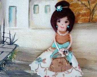 Fabric brooch doll, miniature doll, pioneer school gift, convention gift, teacher gift, handmade doll, fabric doll pin, mother gift
