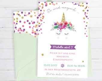 Invitation card for the children's birthday * with unicorn motif for printing * personalizable & Individual