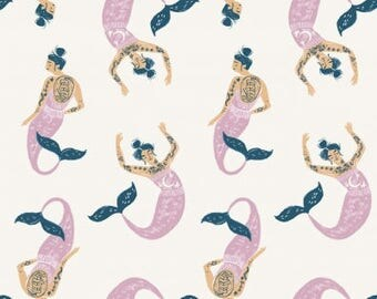 Dear Stella Mermaids in Marshmallow Fabric