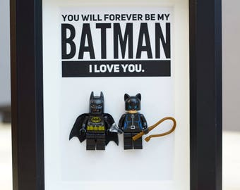Lego, Superhero, gift, daddy, gift for him, lego minifigures, superhero lego, Father's Day gift, batman, cat women, inspired by LEGO