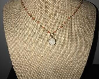 Pink & Gold Gem Necklace