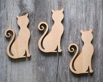 Unfinished wooden Cat with hole,wooden cat,plain wood Embellishments for Craft ,DIY Crafting Wood laser cut gift tags