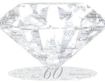 Personalised Diamond Word Art Gift Framed Wedding Anniversary Engagement Birthday Son Daughter Auntie Sister Gift
