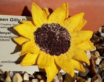 Fabric sunflower brooch