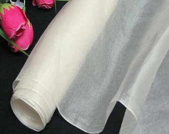 140cm Wide Antique White 100% Real Mulberry Silk Organza Fabric Natural Silk Material (QI Za 028W X Yards / Meters)