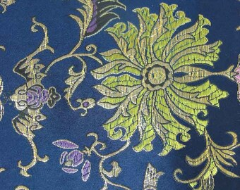 Clearance Sale Discount Lucky flower Metallic on Navy blue Asian Chinese Brocade Fabric 29 inch W, By The Yard or Metres or Samples GP-205