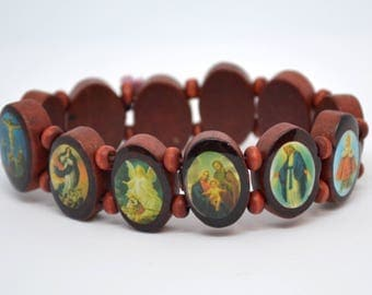 Wooden bracelet with Holy Effigy
