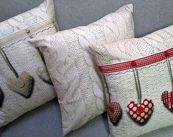 Decorative pillow 45 X 45, Shabby-Chic Style 100% cotton Made In Italy