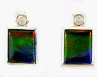 Pair of  Rectangular Shaped Canadian Ammolite and Diamond set in 14k White Gold