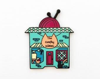 The Crafty Kitten Enamel Pin