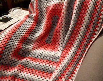 Tri-Coloured Granny Square Throw
