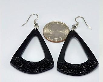 Rose Triangle Earrings – Hanger Earrings - Horn